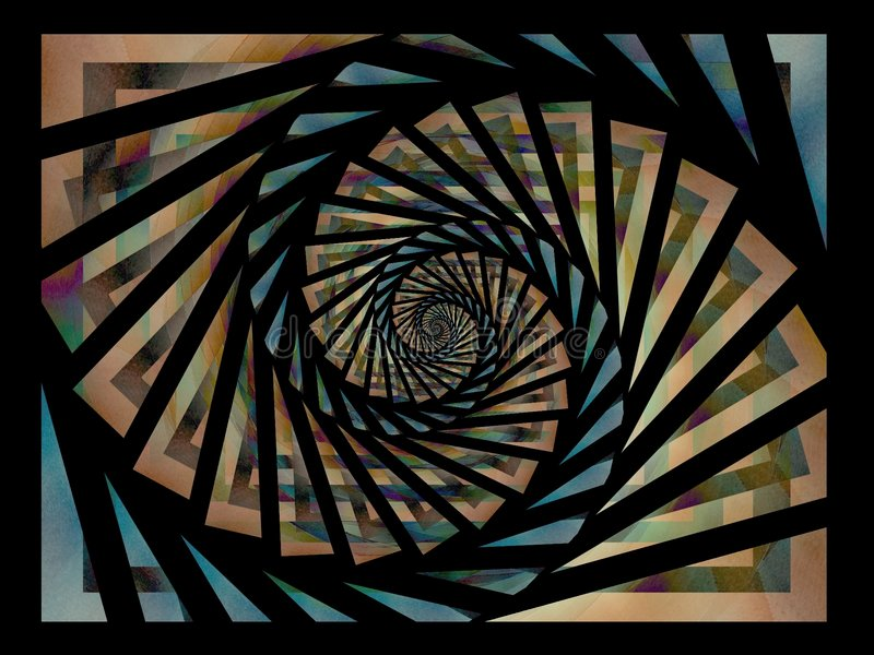 Black Gold Blue Spiral Pattern. A fractal pattern with bold black outline and subtle blue, gold and brown colors stock image