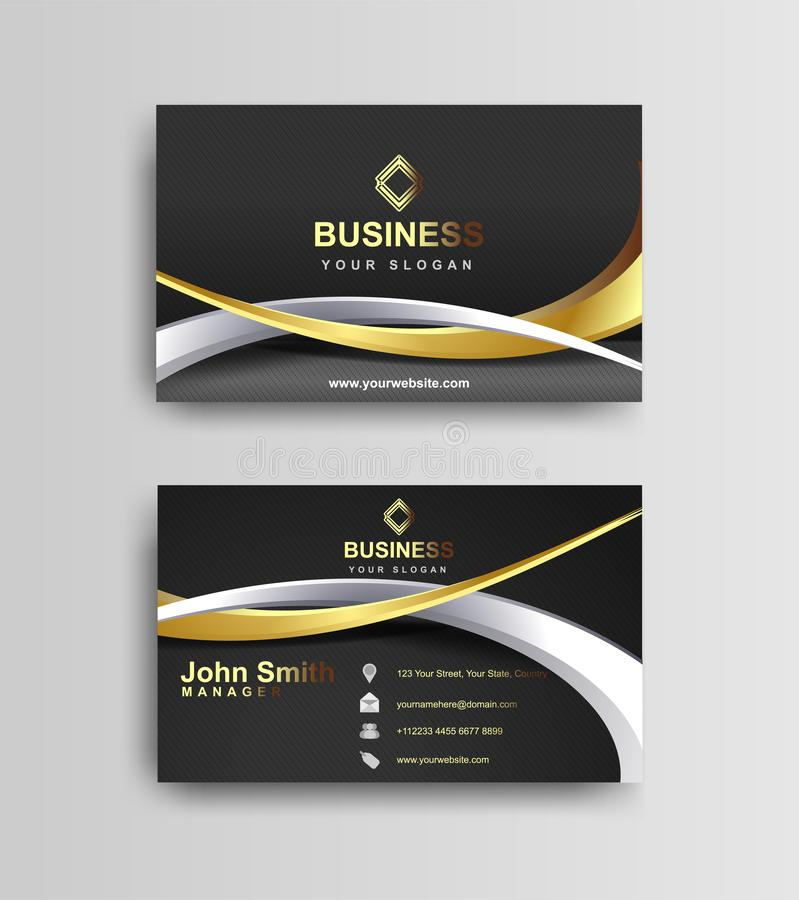 Black and gold business card template design. Trendy corporate identity vector illustration stock illustration