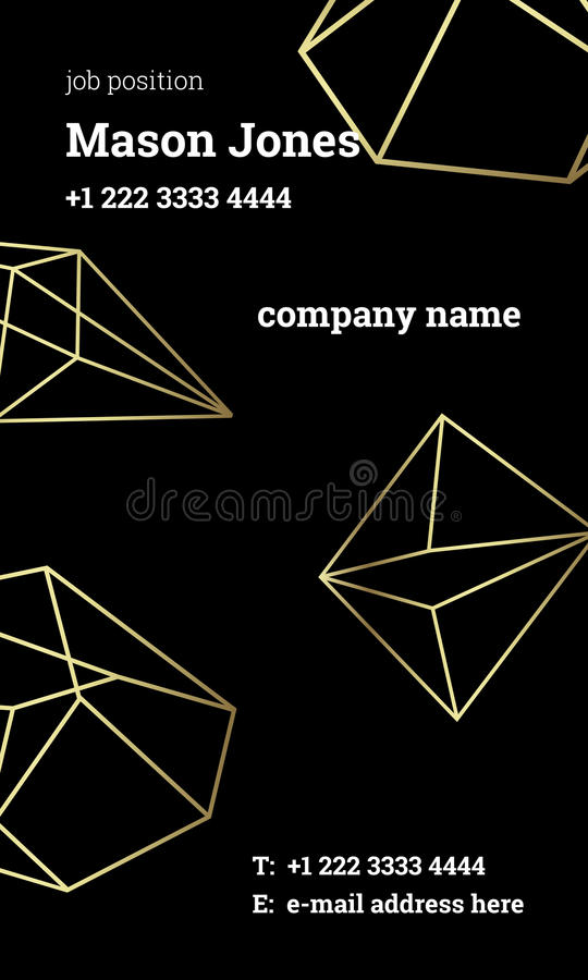Black And Gold Business Card Template Strict Style Stock Vector ...