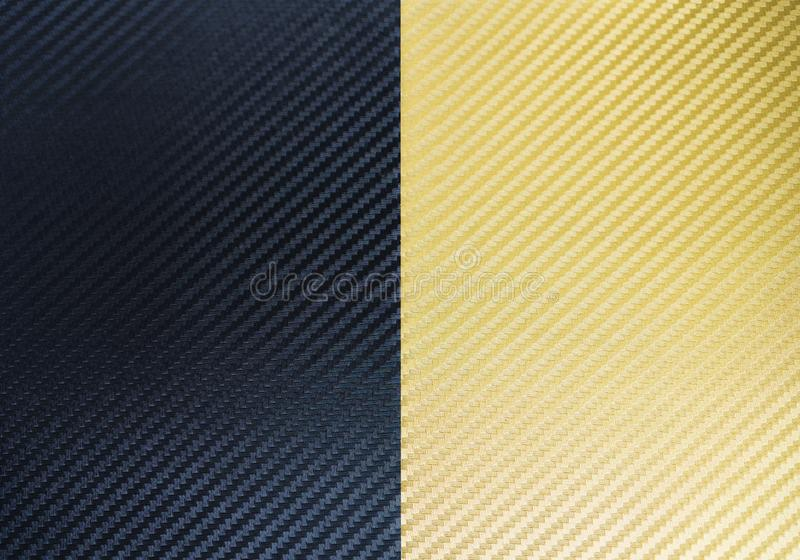 Black and gold carbon fiber textures stock illustration