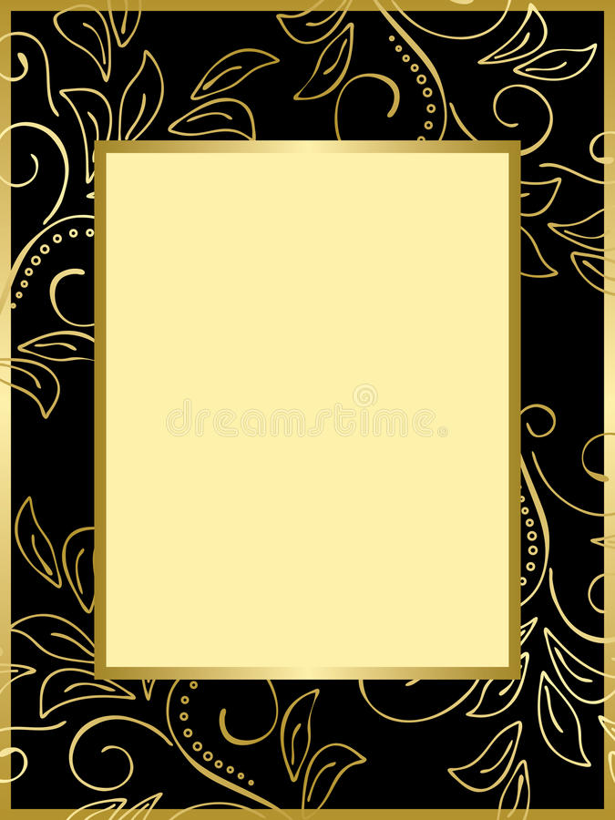 Download Black And Gold Card With Floral Background - Eps Stock Vector - Image: 24669735