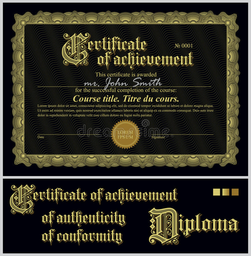 Black and gold certificate template horizontal stock vector download black and gold certificate template horizontal stock vector illustration of authenticity yelopaper Images