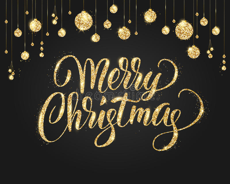 Download Black And Gold Christmas Background With Glitter Decoration Hand Drawn Lettering Stock Vector