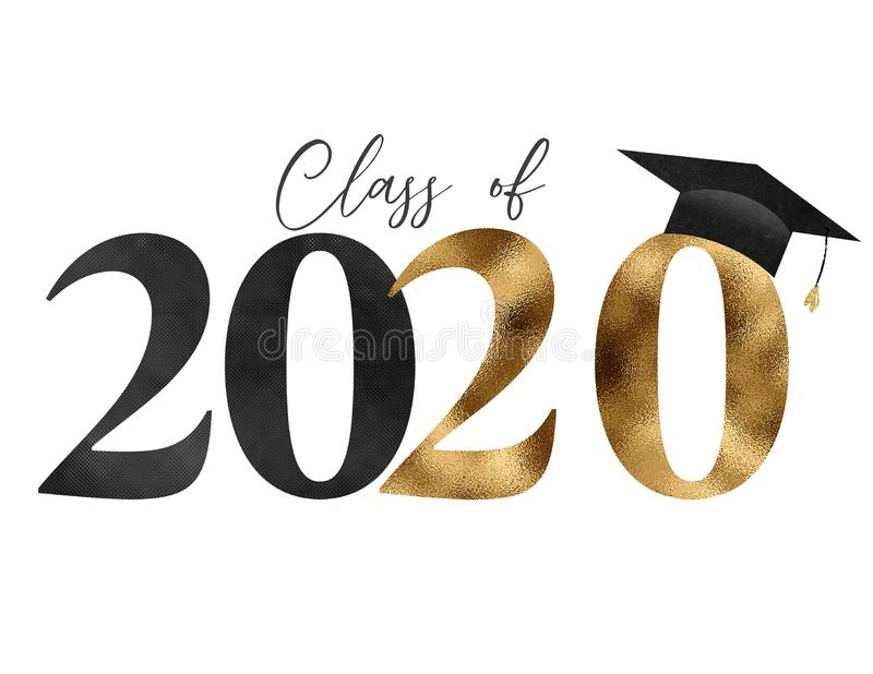 Black Gold Class of 2020 Graduation. Black and gold textured class of 2020 graphic with cap and tassel royalty free illustration