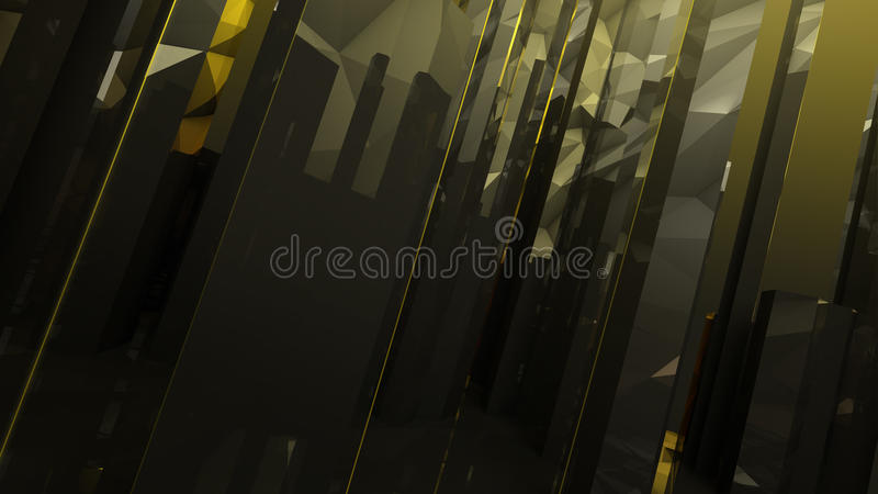 Black gold dark abstract column glass background. Black gold dark abstract triangles column glass rock reflection geometric background stock illustration