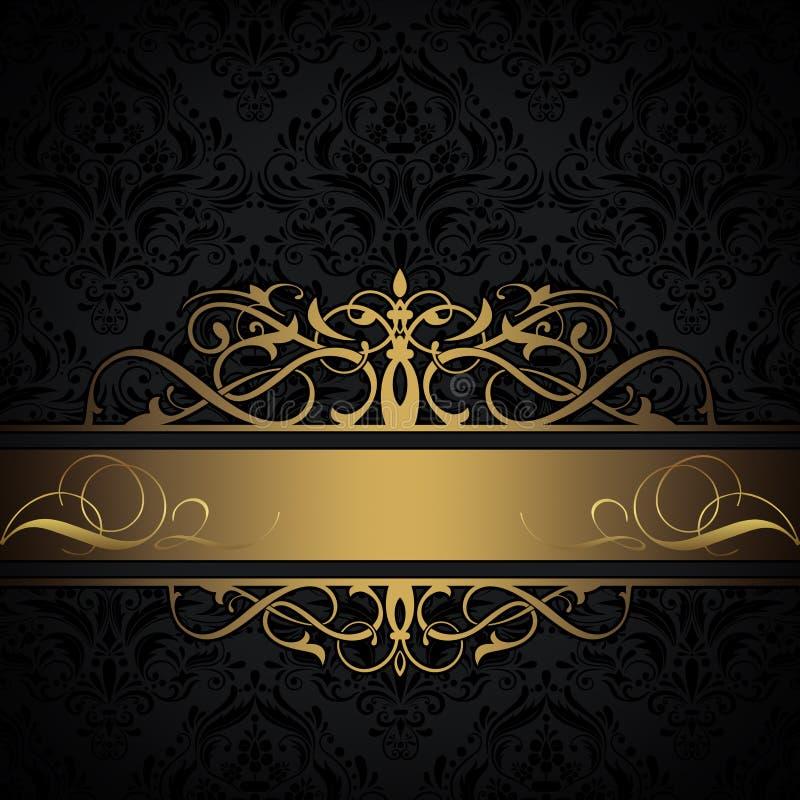 black and gold decorative background stock illustration