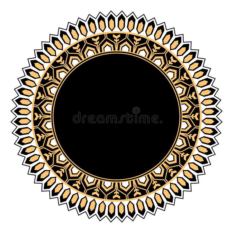 Black and gold decorative circular design royalty free illustration