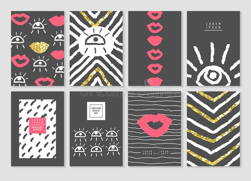 Black and Gold Design Card Template Set with Lips and Eyes. Abstract Posters Banners Brochure Cover vector illustration