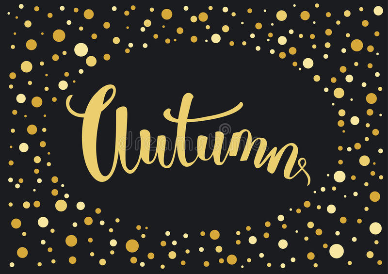 Black and gold dotted festive autumn fall background. Invitation card with handwritten text vector illustration