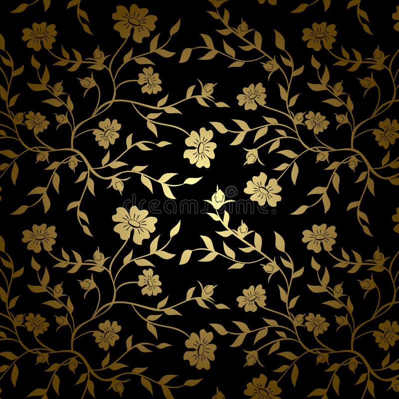 Black And Gold Vector Floral Texture For Backgroun Stock Vector