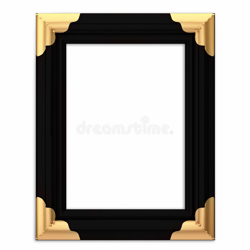 Black and Gold Framed Picture Frame w/ Path vector illustration