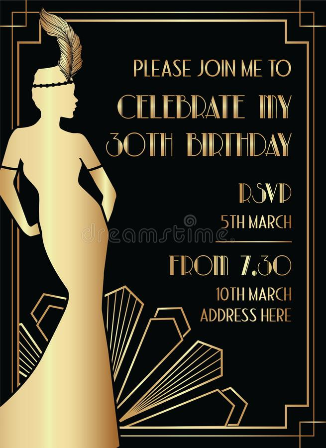 Black and Gold Gatsby Art Deco Style Birthday Invitation Design with Woman. Silhouette stock illustration