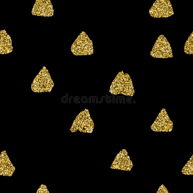 Black and Gold Hand Draw seamless pattern of triangles. Vector endless texture and pastel colours of glitter stock illustration
