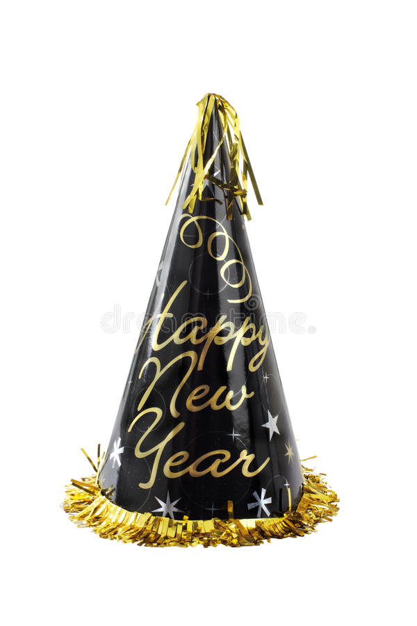 Black and gold Happy New Year party hat. Happy New Year party hat, black with gold lettering, cone-shaped, shiny, gold fringe and tassel. Vertical,, isolated on royalty free stock photos