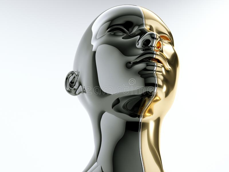 Black and gold human head separated by line as symbol of balance. And diversity vector illustration