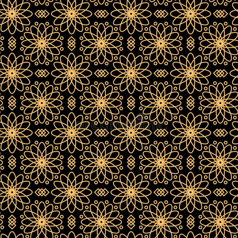Black and gold luxury seamless pattern. Black and gold luxury Islamic seamless pattern royalty free illustration