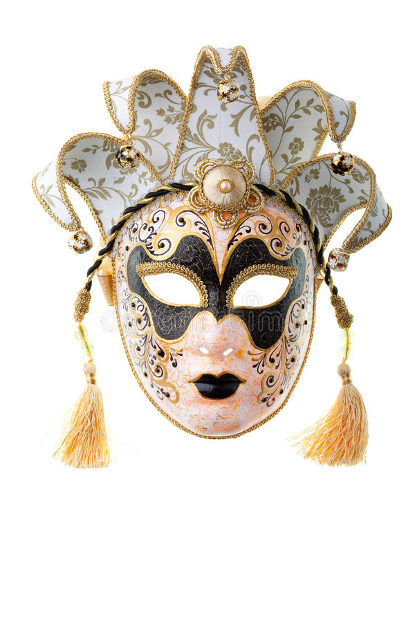 Black and gold mask. Isolated on a white background stock images