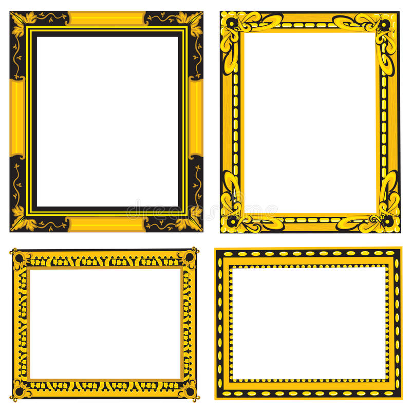 Black And Gold Picture Frames Royalty Free Stock Image