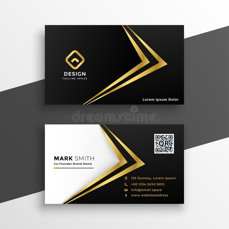Black and gold premium luxury business card design stock illustration
