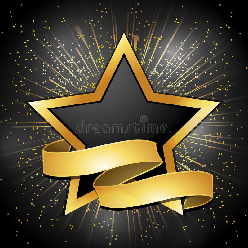 Black and gold star and banner background stock illustration