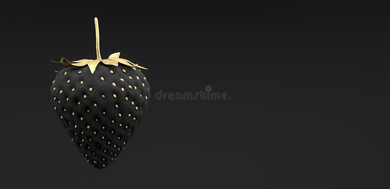 Black and gold Strawberry on black background 3d render vector illustration