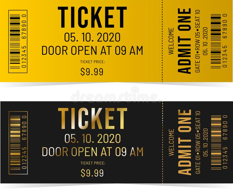 Black and Gold tickets stock illustration