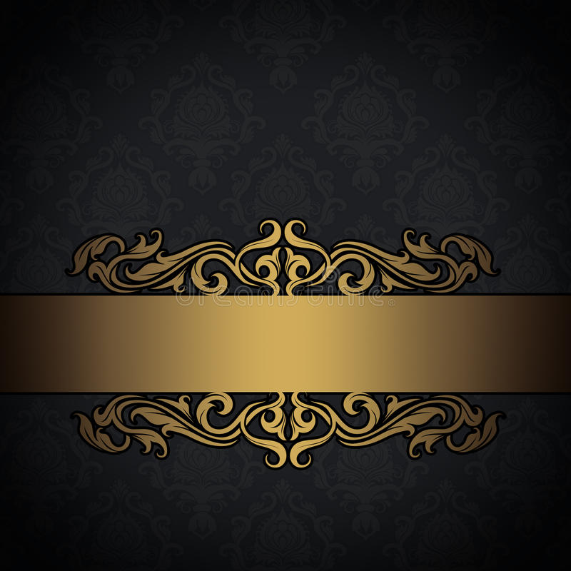 black and gold vintage background stock illustration