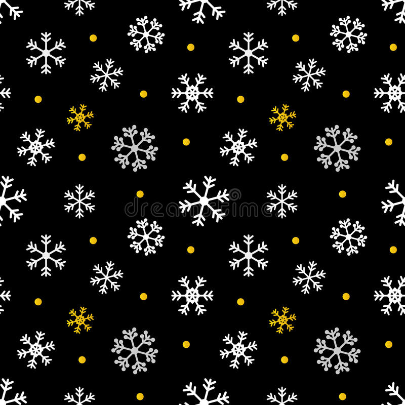 Black, gold and white christmas, winter seamless pattern background vector illustration