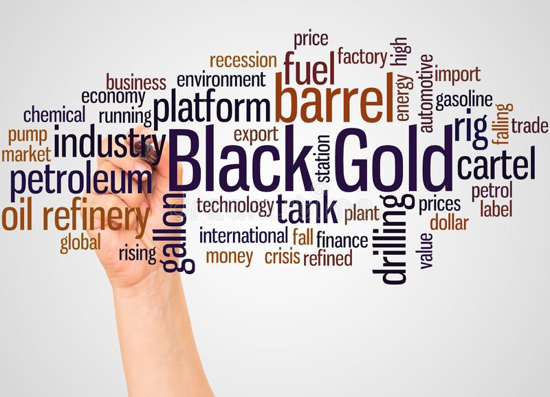 Black Gold word cloud and hand with marker concept. On white background royalty free illustration