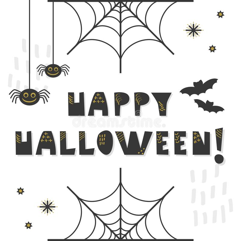 Black and golden abstract cute Happy Halloween message greeting card royalty free illustration