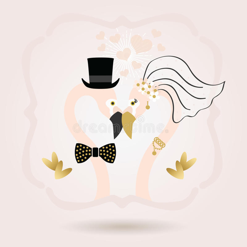 Black and golden abstract flamingo bride and groom head icons on pink royalty free illustration