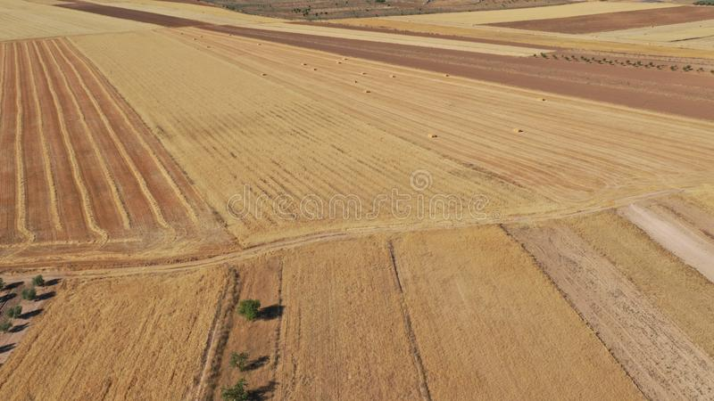 Black and golden fields of cereal with bales of straw after harvest seen from drone stock photo
