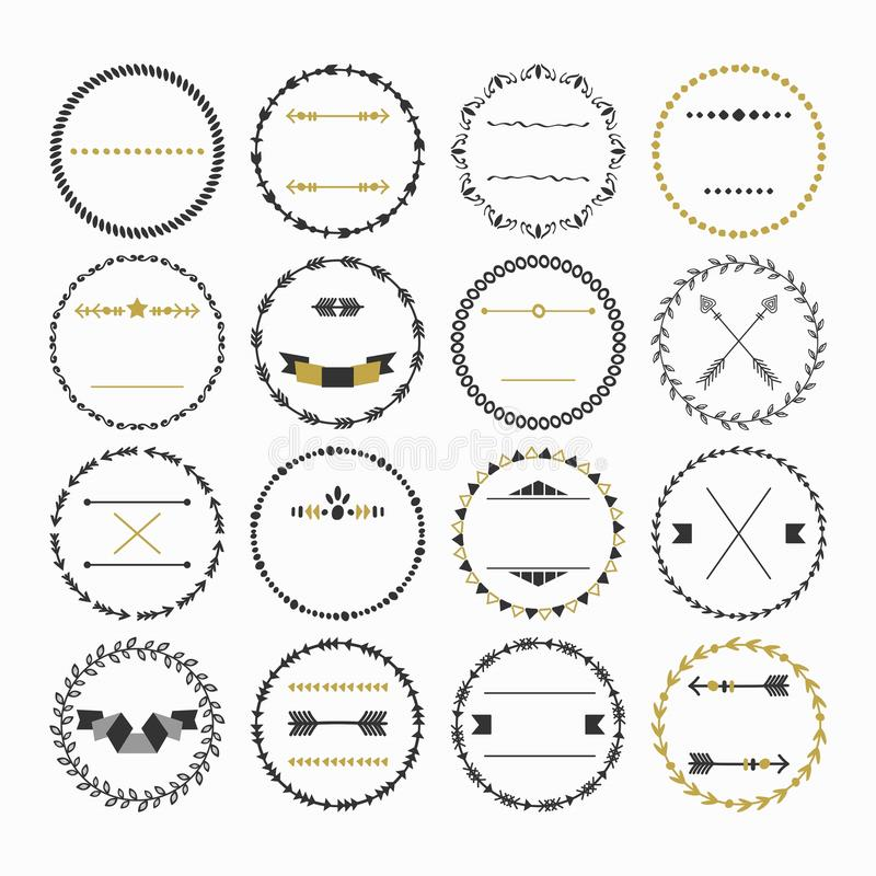 Black and golden hand drawn empty circle emblems set on white background vector illustration