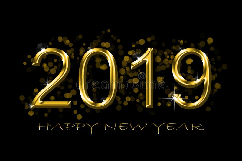 Black and Golden 2019 new year christmas concept stock photos