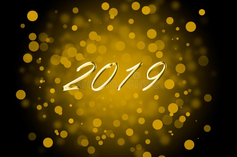 Black and Golden 2019 new year christmas concept stock photography