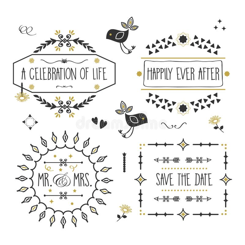 Black and golden wedding message banners and emblems set stock illustration