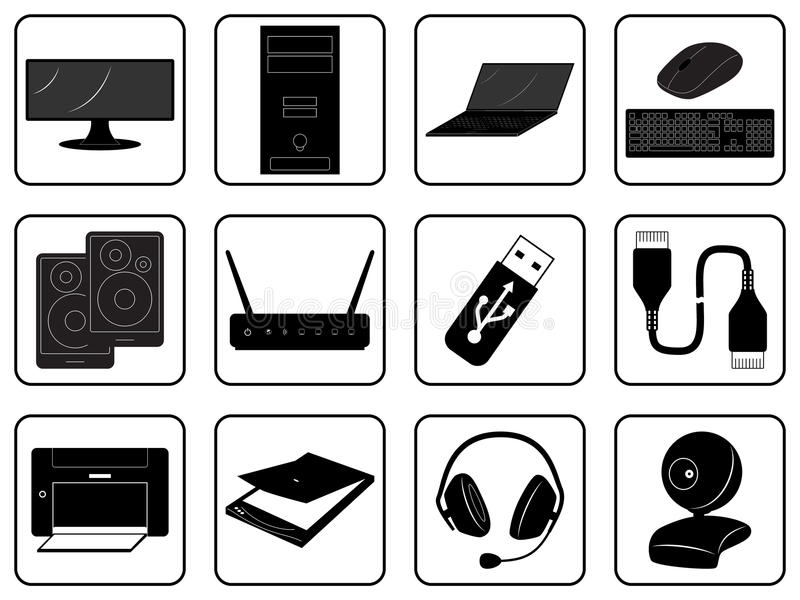 laptop and multimedia objects stock illustration