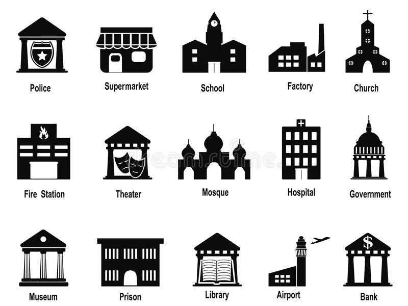 Black government building icons set. Isolated black government building icons set from white background stock illustration