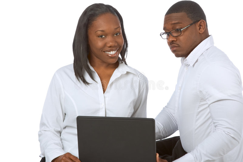 Black graduates people by laptop in high school stock images
