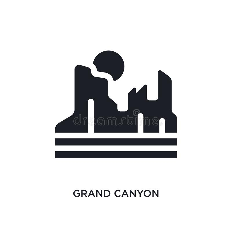 Black grand canyon isolated vector icon. simple element illustration from united states concept vector icons. grand canyon. Editable logo symbol design on white stock illustration