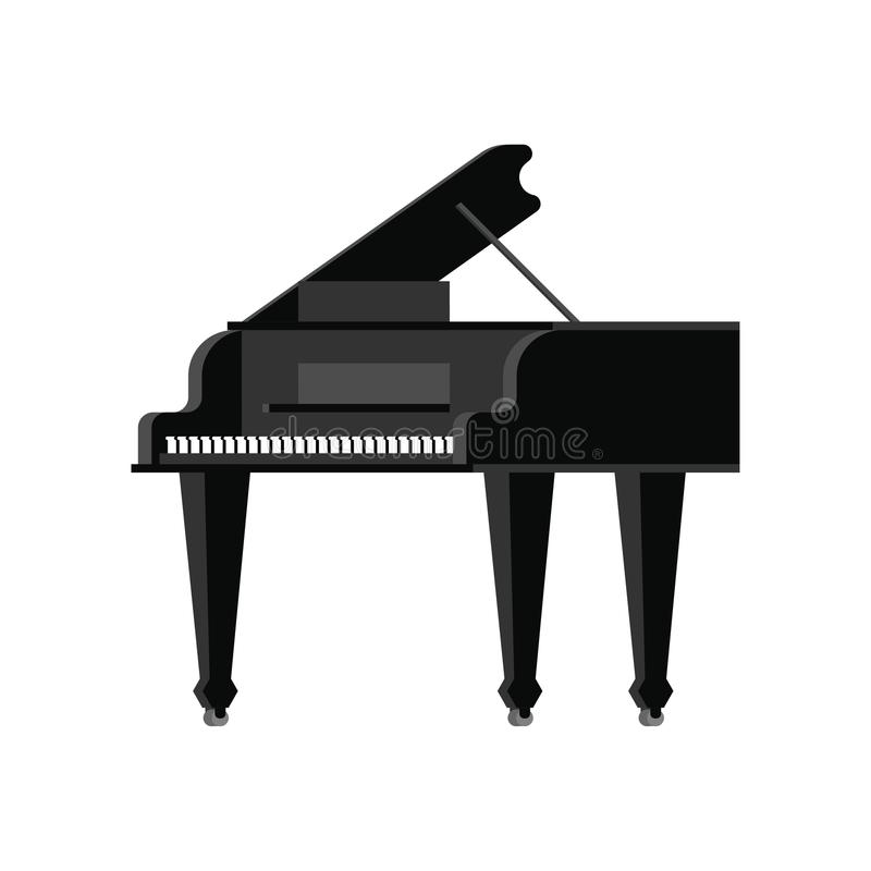 Black grand piano isolated. Musical instrument Vector illustration royalty free illustration