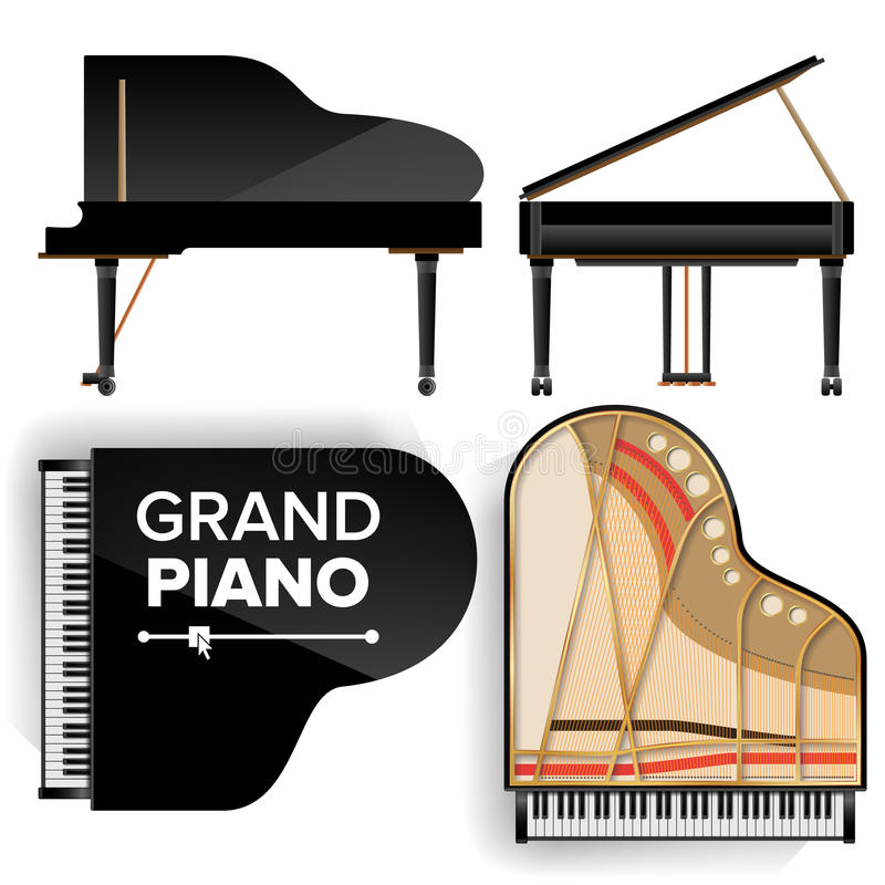 Black Grand Piano Set Icon Vector With Shadow. Realistic Keyboard. Isolated Illustration. Top And Back View stock illustration