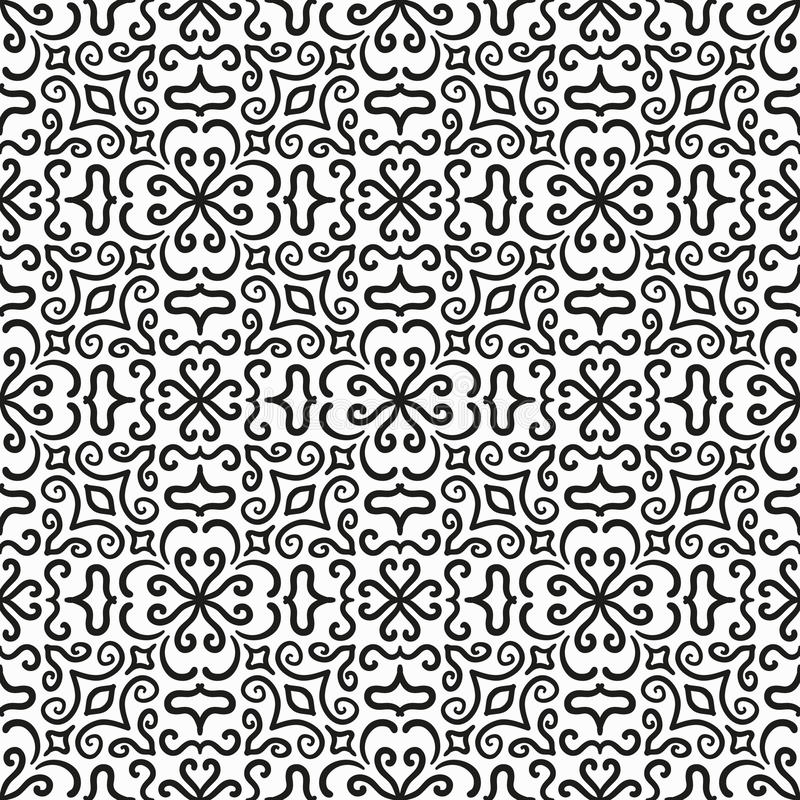 Black Flower And Bud Pattern Royalty Free Stock Photos: Black Graphic Flower Pattern On White Background Stock