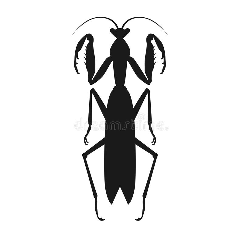 Black Grasshopper Icon. Nature black cartoon locust and cute flat grasshopper icon. Wild creature antenna invertebrate cute grasshopper agricultural zoo large royalty free illustration