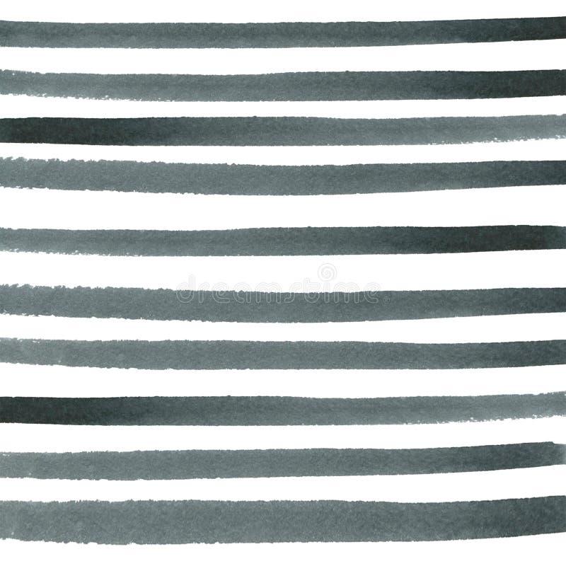 Black and gray horizontal stripes. watercolor stock image