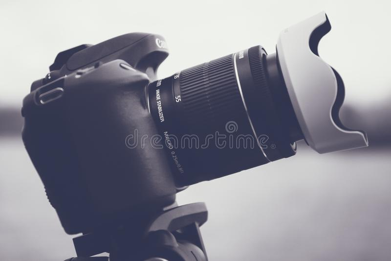 Black and Gray Dslr Camera With Lens stock image