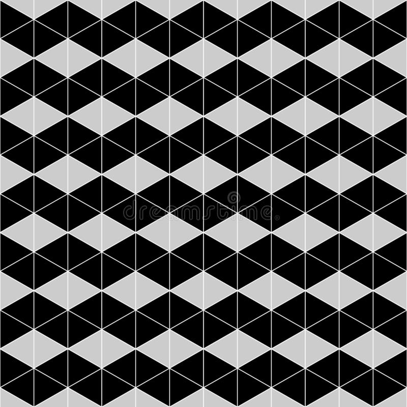 Black and gray geometric seamless pattern with triangle, abstract background royalty free illustration