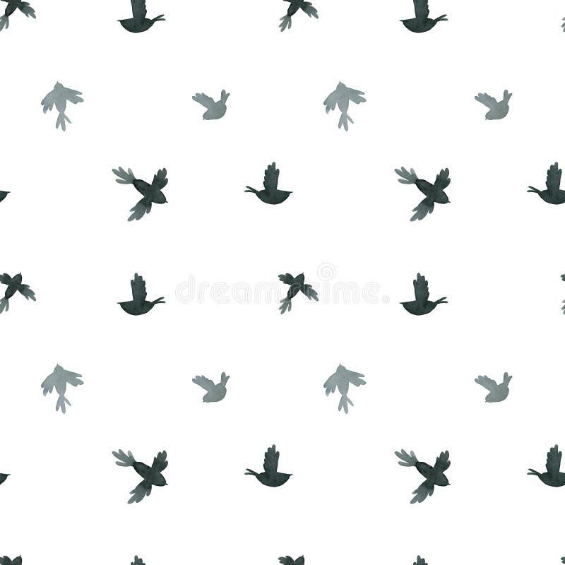 Black and gray little birds vector illustration