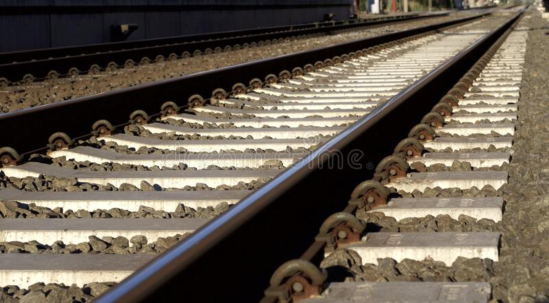 Black and Gray Metal Train Rail royalty free stock image