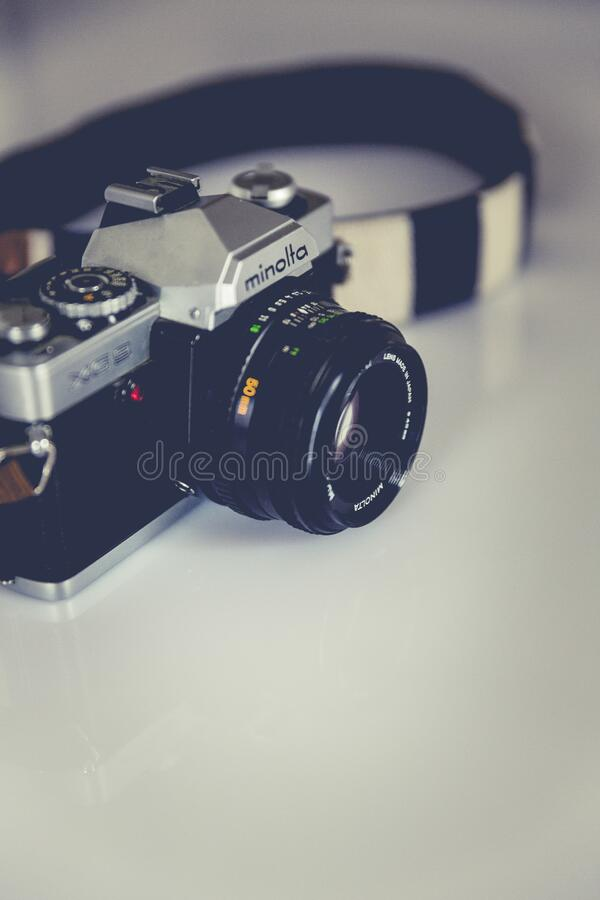 Black and Gray Minolta Dslr Camera royalty free stock photography